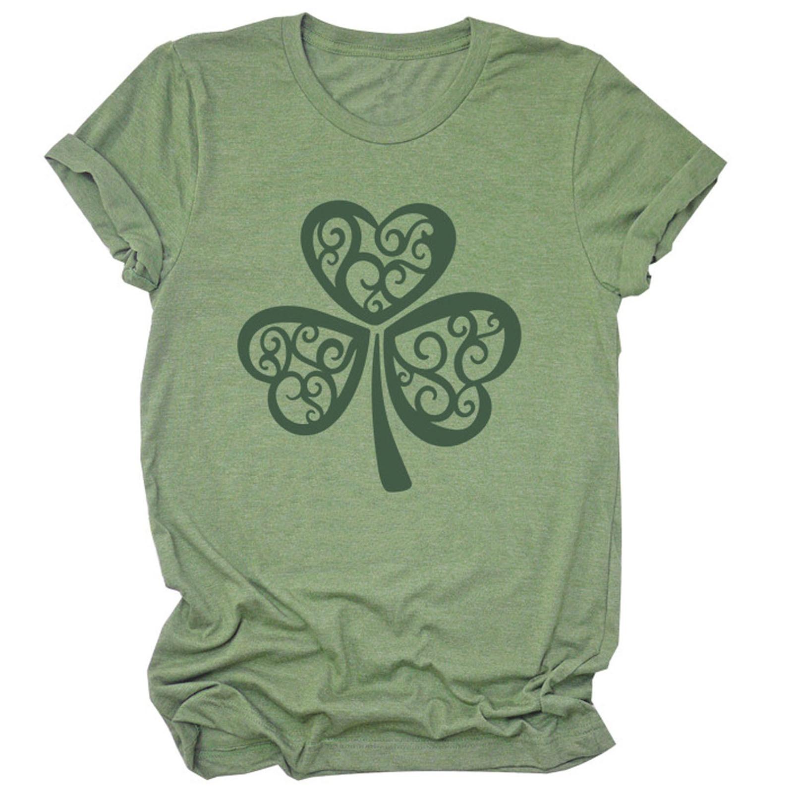Groen Blad Planten Gedrukt T-shirt Vrouwen St. Patricks Day T Shirt Korte Mouw O Neck Holiday Casual Tee Tops Camisetas de Mujer