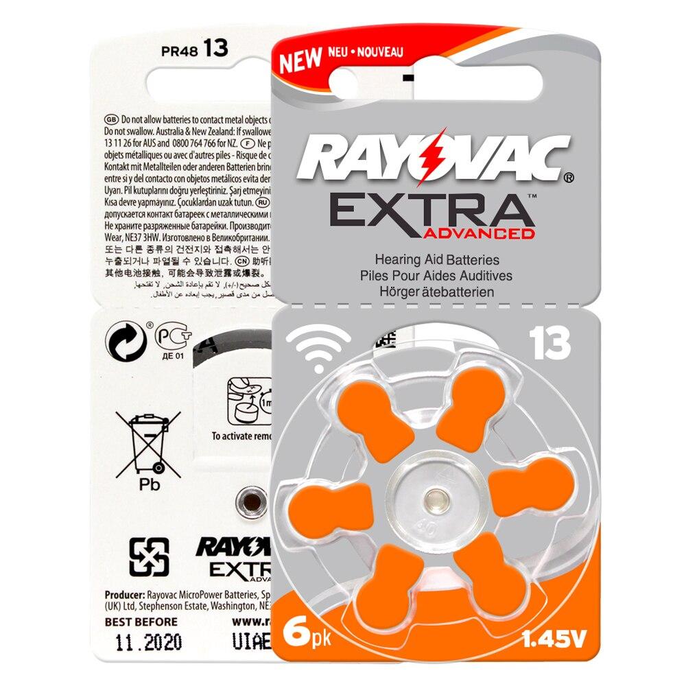 As baterias 30 pces/5 cards rayovac EXTRA-A13/pr48/s13 do aparelho auditivo do ar do zinco batterie 1.45 v tamanho 13 diâmetro 7.9mm espessura 5.4mm