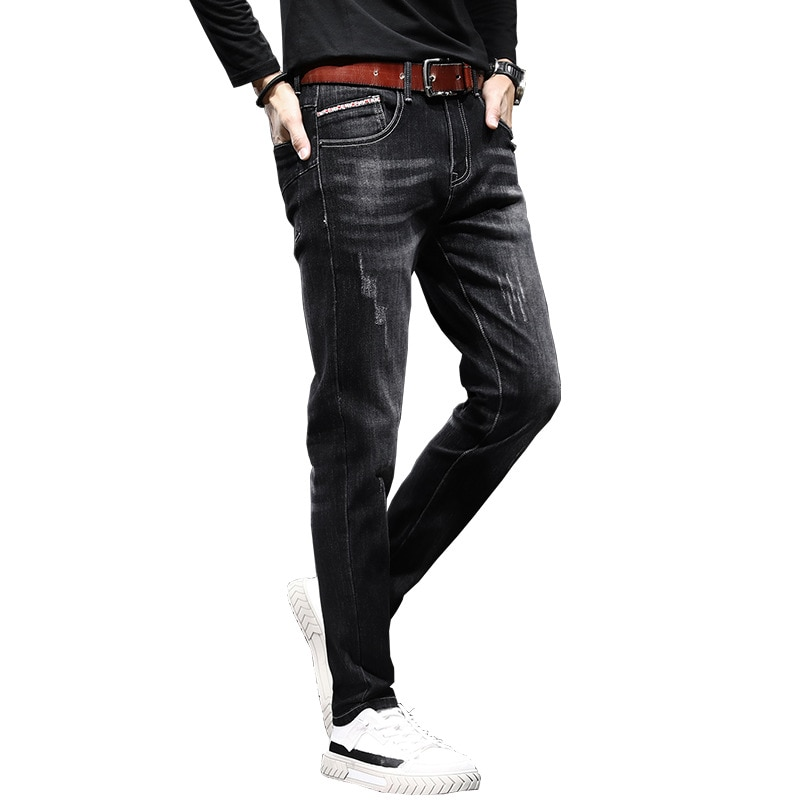 Новинка, мужские брюки-карандаш, облегающие модные брюки в Корейском стиле, мужские брюки-джоггеры, мужские джинсы, весна и осень 2021