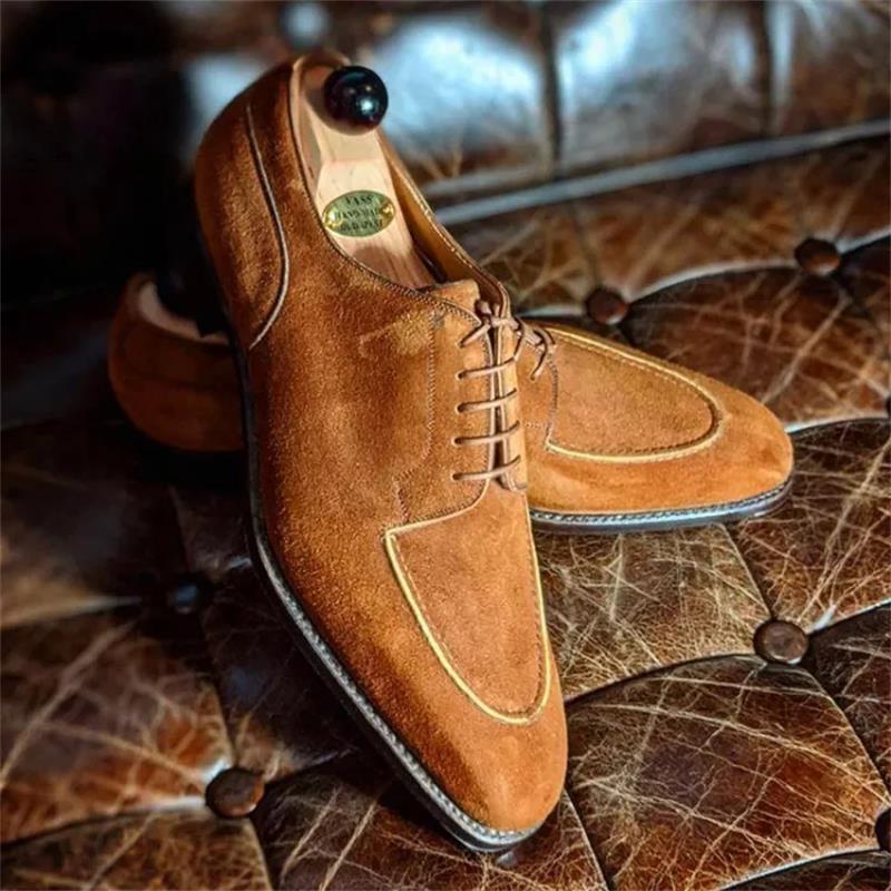 موضة جديدة 2021 للرجال ، أحذية فستان غير رسمية تناسب جميع الأعمار ، أحذية مصنوعة يدويًا بلون الشوكولاته ، أحذية أوكسفورد بأربطة من جلد الغزال ،...