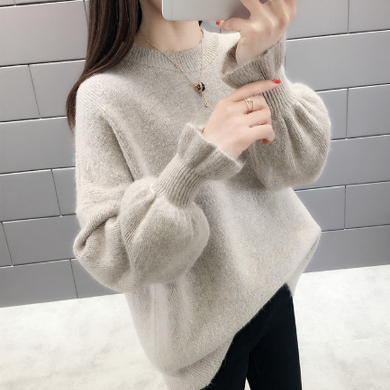 aelorxin 2017 women sweaters and pullovers thick autumn winter casual full sleeve o neck fashion women sweater girls sweaters 2020 Autumn Winter Fashion Korean Women Sweater Casual O Neck Solid Knitted Pullover Loose Flare Sleeve Elegant Sweaters Women