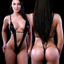 Sexy Women Black PU One Piece Swimsuit Deep V-Neck G-String Thong Slingshot Swimwear Exotic Micro Ba
