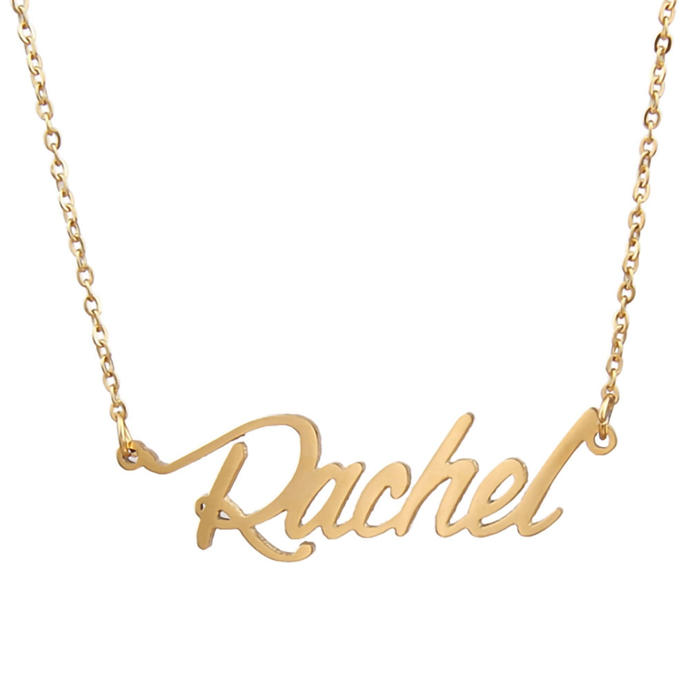 Rachel Name Necklace Personalised Stainless Steel Women Choker 18k Gold Plated Alphabet Letter Pendant Jewelry Friends Gift