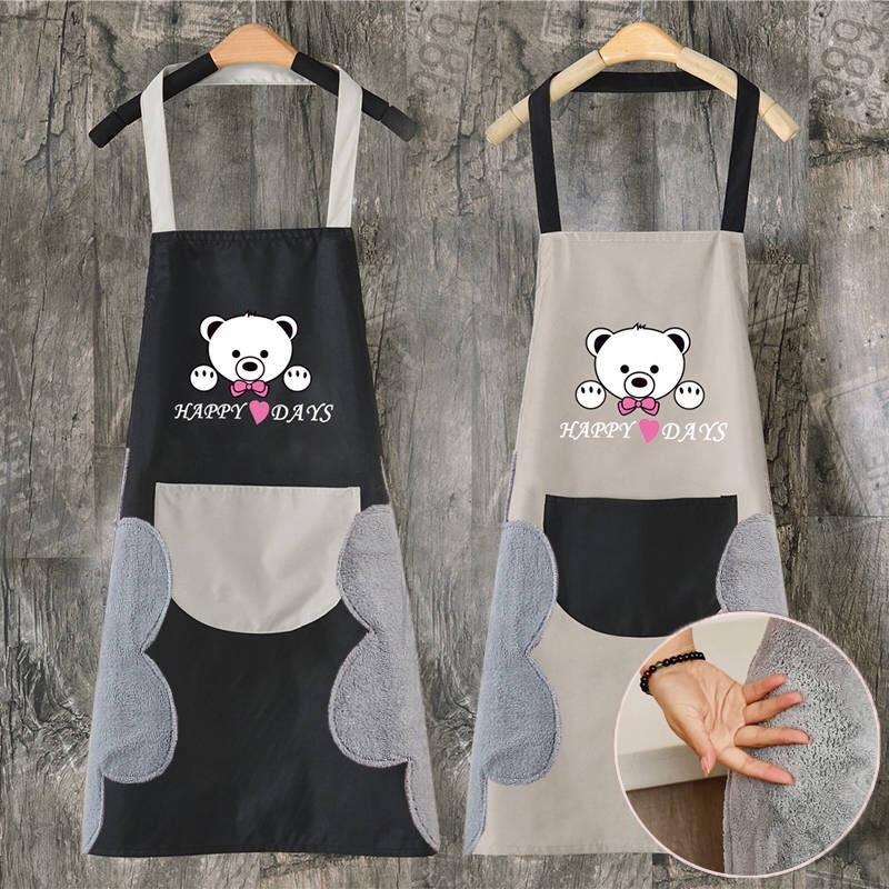 Delantal de mano borrable, delantal de cocina para mujer, delantal impermeable de oso feliz para niños