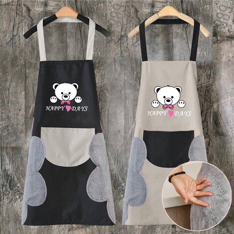 Стирайте ручной фартук Delantales de cocina para mujer, Кухонный Фартук с изображением счастливого медведя, водонепроницаемый фартук для детей