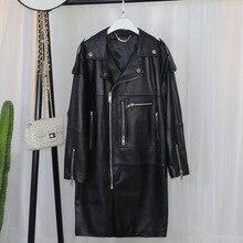 [EWQ] automne hiver nouvelle grande taille mi-longue en vrac Style coréen moto vêtements Plus gros Extra Large manteau en cuir 3AK142