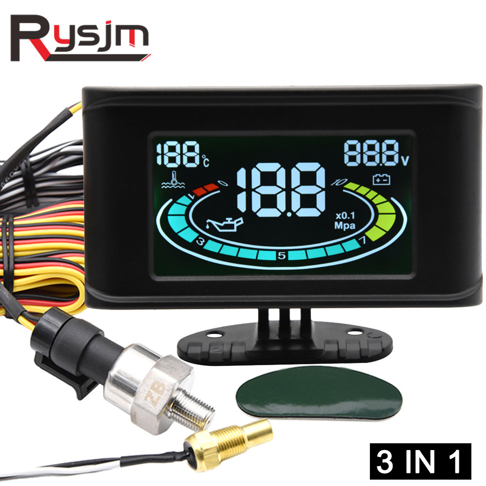 3in1 lcd digital caminhão carro medidor de pressão óleo voltímetro temperatura da água + sensor imprensa óleo 10mm npt1/8 12v 24v universal