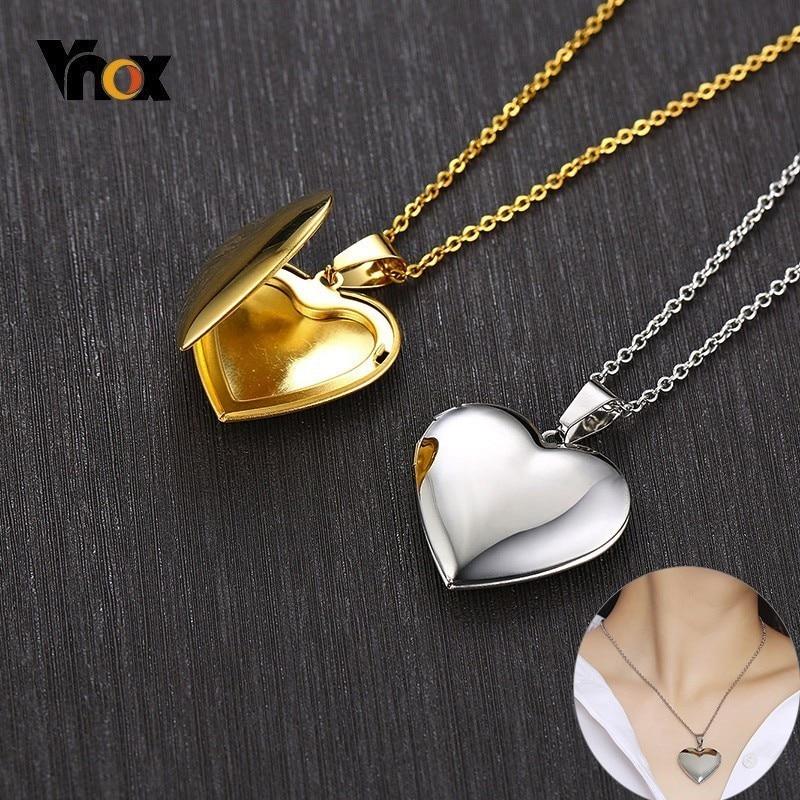 Vnox Light Heart Locket Pendants for Women Men Openable Photo Frame Glossy Stainless Steel Necklaces Family Love Collar