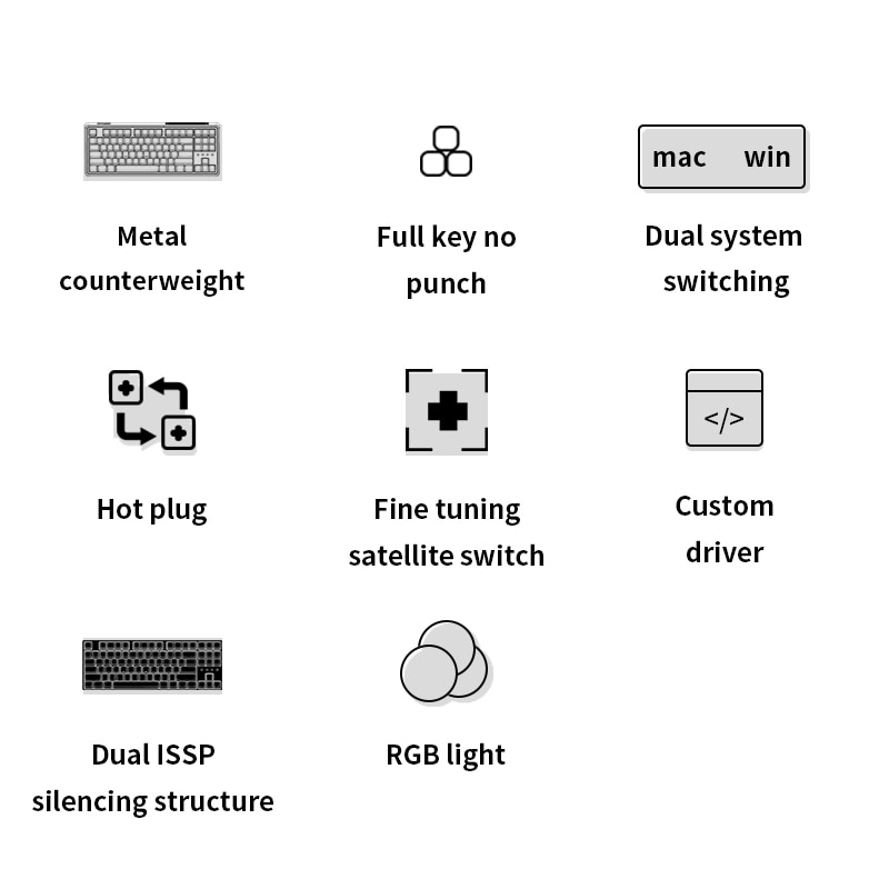 FL·ESPORTS CMK87-SA Single-Mode Mechanical Keyboard 87-Key Full-Key Hot-Swappable Office Gaming Keyboard Standard 80% Layout