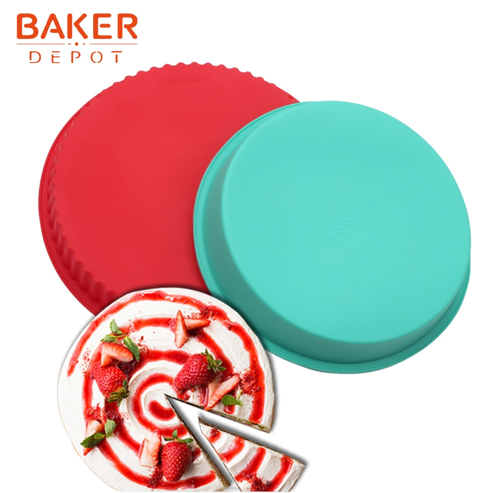 BAKER depósito 9 pulgadas pastel de molde de silicona de pizza de pan redonda grande pasteles de repostería para hornear forma pan postre hornear diy fiesta de cumpleaños