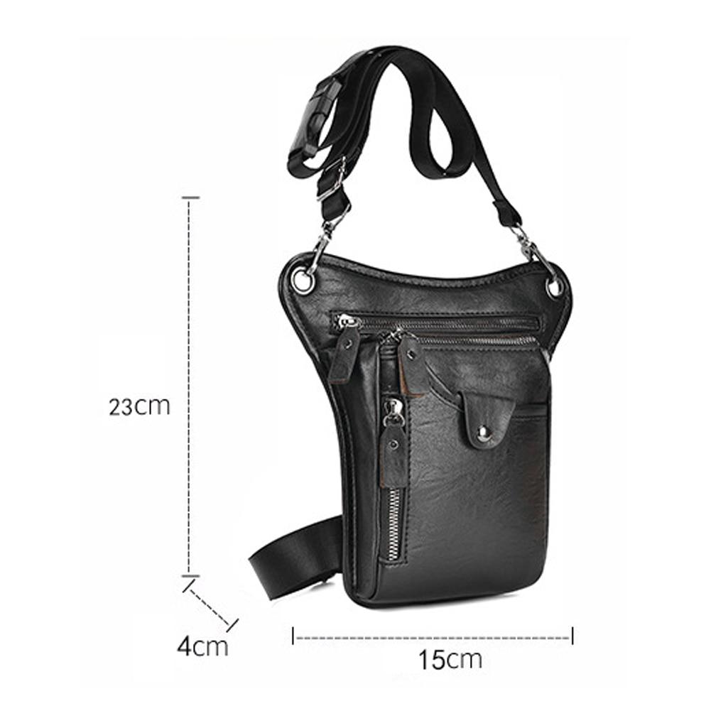 Men Leather Waist Pack Multi-function Business Messenger Shoulder Bag Travel Waist Bag Casual Sling Bag Drop Leg Pouch for Men