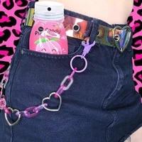 2021 new european and american punk acrylic love phants zipper keychain tassel color fashion pants chain gifts