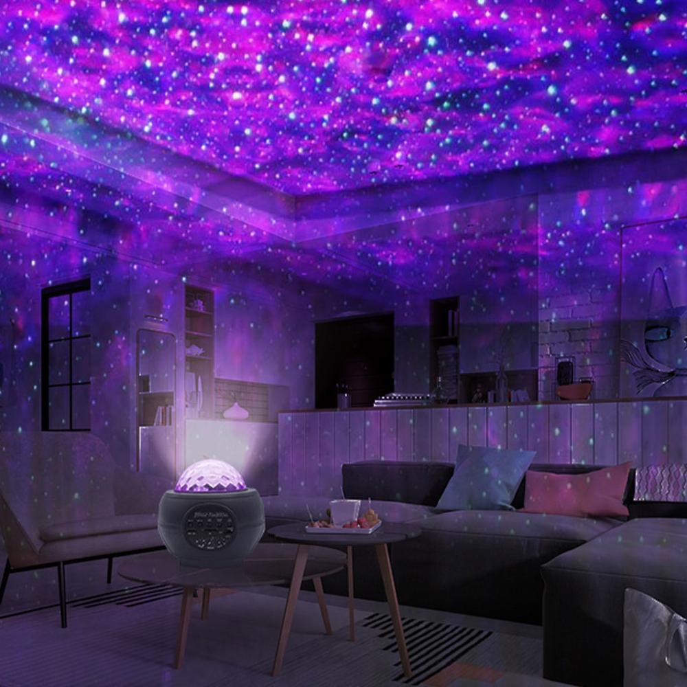 SWT Bluetooth Music USB Nebula Lamp Starry Sky Galaxy Light Decor LED Star Light Projector Rotating Ocean Wave Night Lights