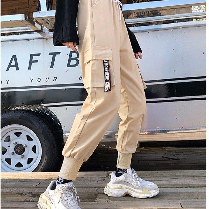 Real Shot Fashion Black Cargo Pants Women's Autumn Cool Handsome Street