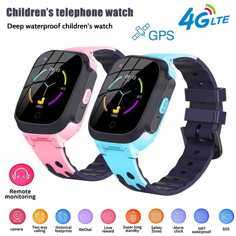 Livraison directe enfants montre intelligente pour enfants 4G réseau Wifi GPS SOS SmartWatch appel vidéo étanche réveil caméra bébé montre