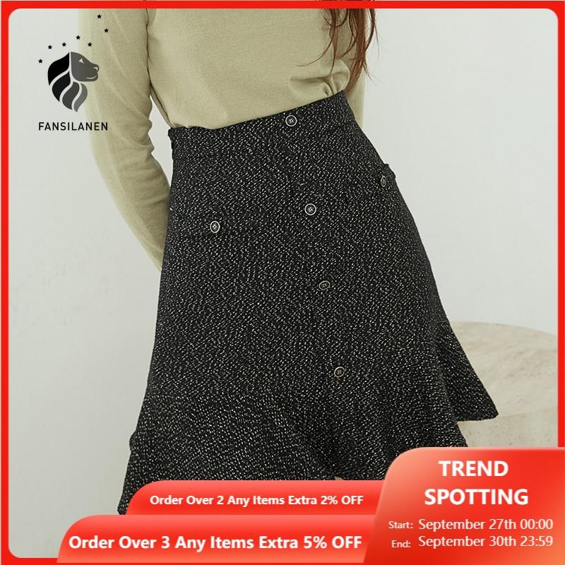 FANSILANEN الصوف مزيج وركس Turmpet تنورة صغيرة النساء عالية الخصر كشكش قصيرة Bodycon تنورة الخريف الشتاء أنيقة البولكا نقطة تنورة
