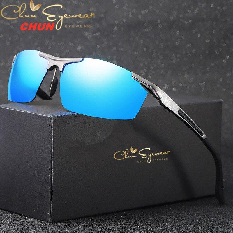 Conducción Polaroid gafas de sol aluminio marco para anteojos de sol deportivos hombres polarizadas controlador Retro UV400 Anti-deslumbramiento gafas BM36 + caso
