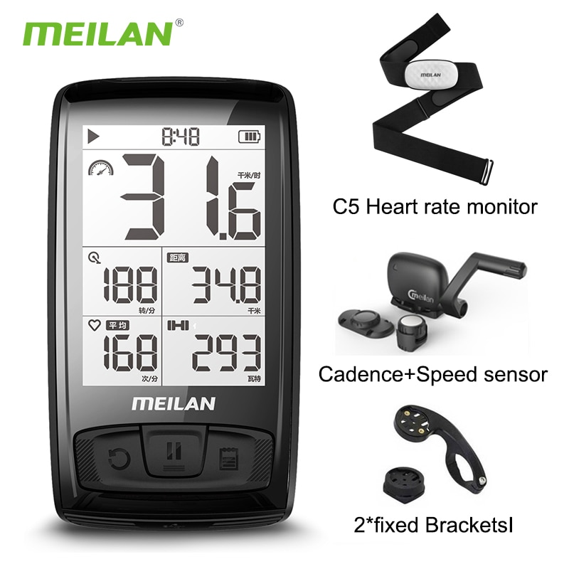 MEILAN M4 Wireless Bike Computer IPX5 Waterproof Cycling Computer with 2.5 Inch Backlight LCD ANT + BLE4.0 Bicycle Computer