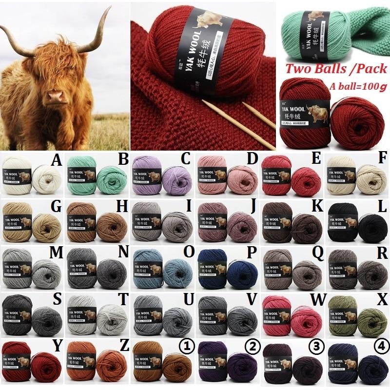 Bufandas de lana de Cachemira de Yak de 30 colores, paquete de 2 bolas, 200g, sombrero de lana de hilo de lana, tejido a mano, ganchillo, hilo de lana medio grueso