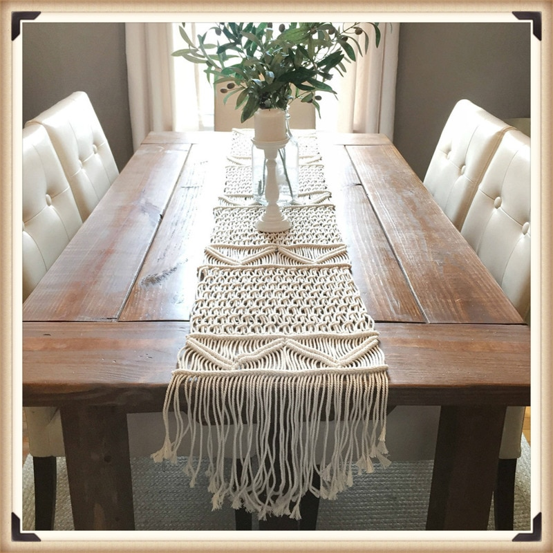 Decoração de Mesa Corredor de Mesa Cobertor de Algodão para o Casamento Decoração de Casa Nórdico Bandeira Macrame Borlas Boêmio Mão Tecido