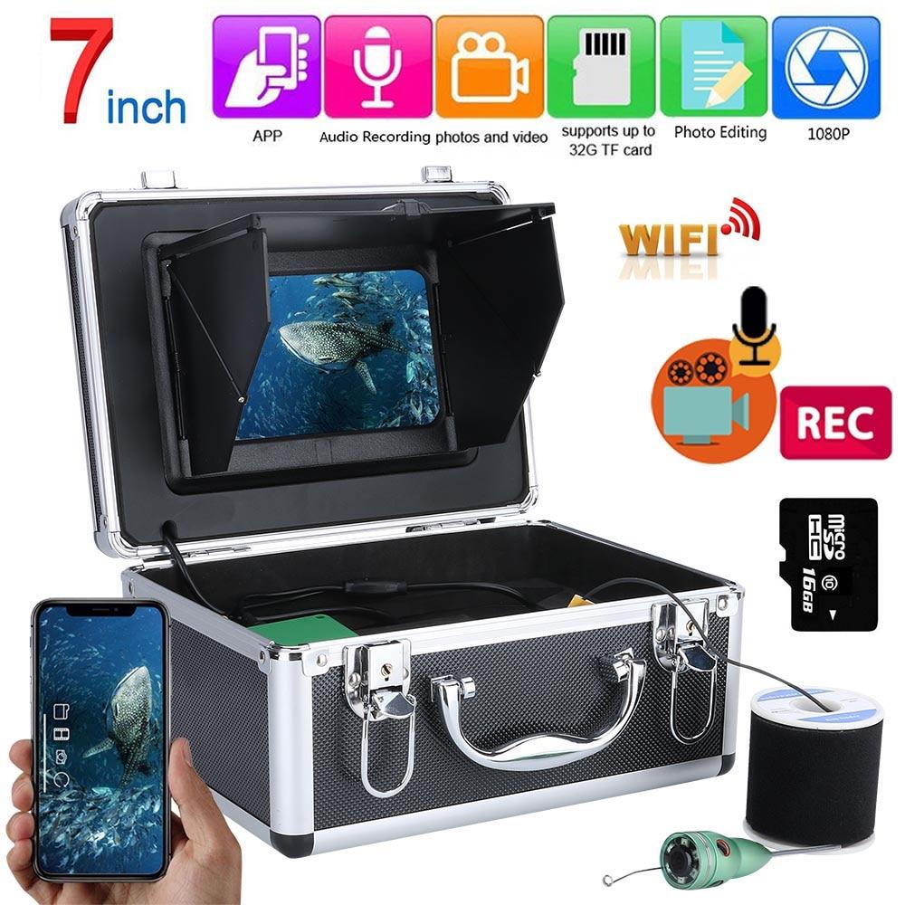 7 Inch WIFI Wireless Fish Finder Underwater Fishing Camera Kit 16GB Video Recording DVR 6W IR /White LED Fishing Camera
