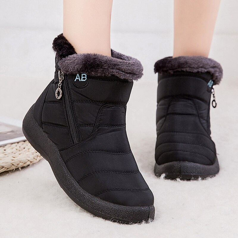 Lucyever Women Waterproof Snow Boots Winter Falts Shoes Woman Casual Lightweight Ankle Botas Mujer P