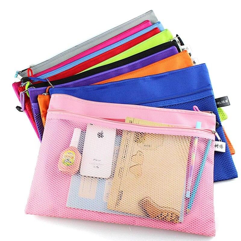Nueva llegada 1 Pza impermeable 2 capas lona cremallera A4 carpeta bolsa documento papel organizador almacenamiento bolsa protectora papelería