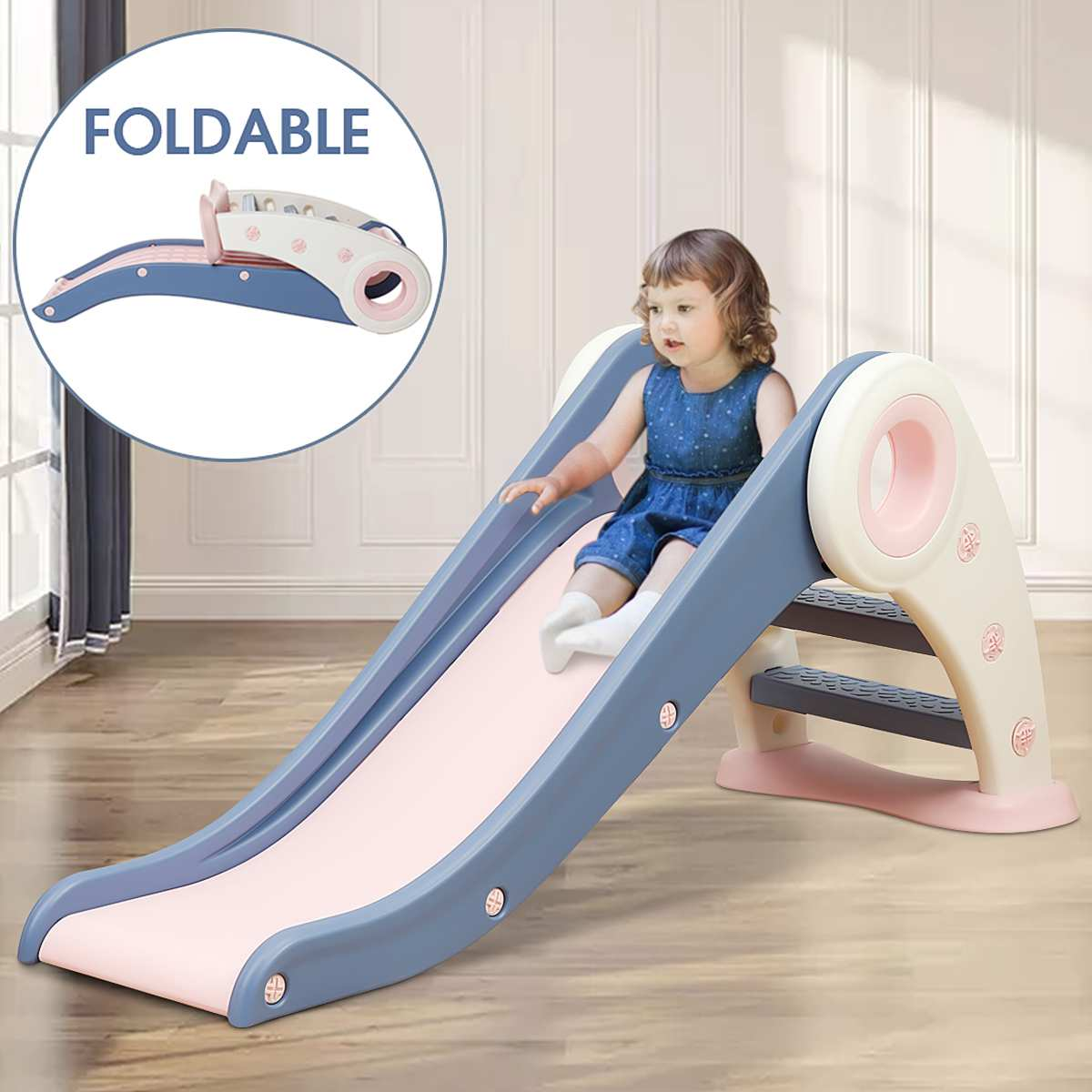 Foldable Children's Toddler Climber Slide With Easy Climb Stairs toddler Small Amusement Park Toys B