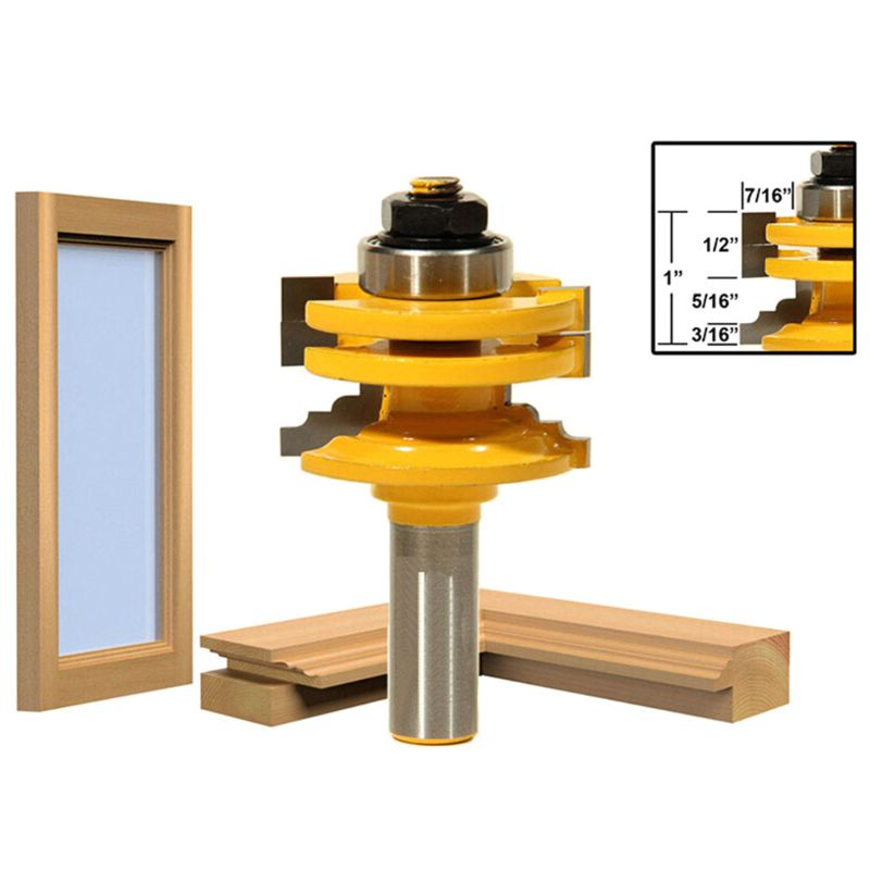 8mm Shank Glass Door Rail Stile Reversible Router Bit for Woodworking Cutter Cutting Tool GXMA enlarge