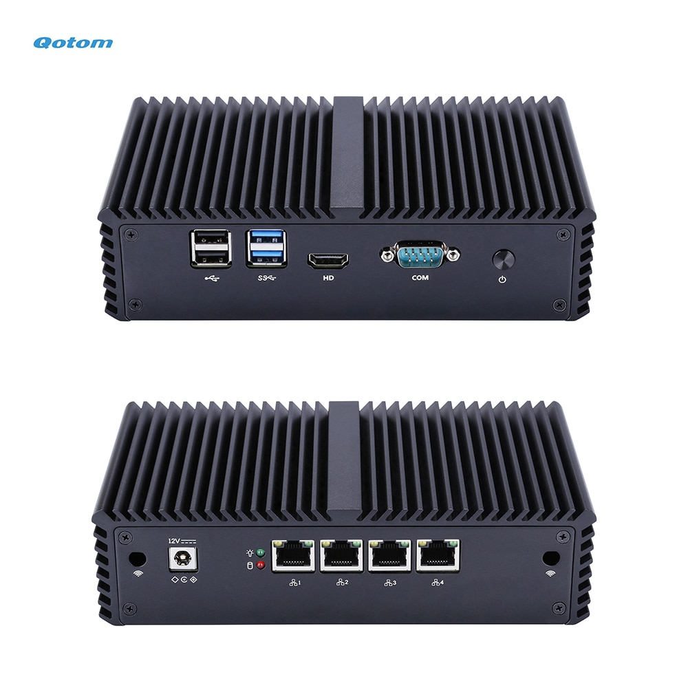 Qotom Mini PC with Core i3 i5 i7 processor and 4 Gigabit NICs, AES-NI, RS232, Fanless Mini PC PFSense Firewall Router