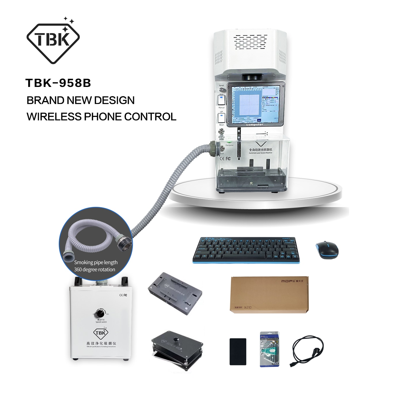Promo Auto Focus Iphone Back Glass Laser Removing Machine TBK958B/TBK958A/TBK958C/958Z/958M Frame Separator with Engraving Printer