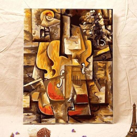 Pablo picasso violino-pintura por números kits para adultos diy uma peça flor 3340 clássico propileno 40*40cm algodão