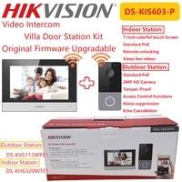 hikvision original video intercom kit ds kis603 p indoor monitor phone station and outdoor bell villa door station bundle