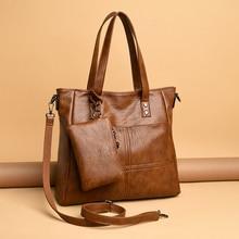 2 ensembles Sac en cuir souple fourre-tout décontracté sacs à main de luxe femmes sacs sacs à main de créateur et sacs à main sacs à main dépaule pour les femmes Bolsa
