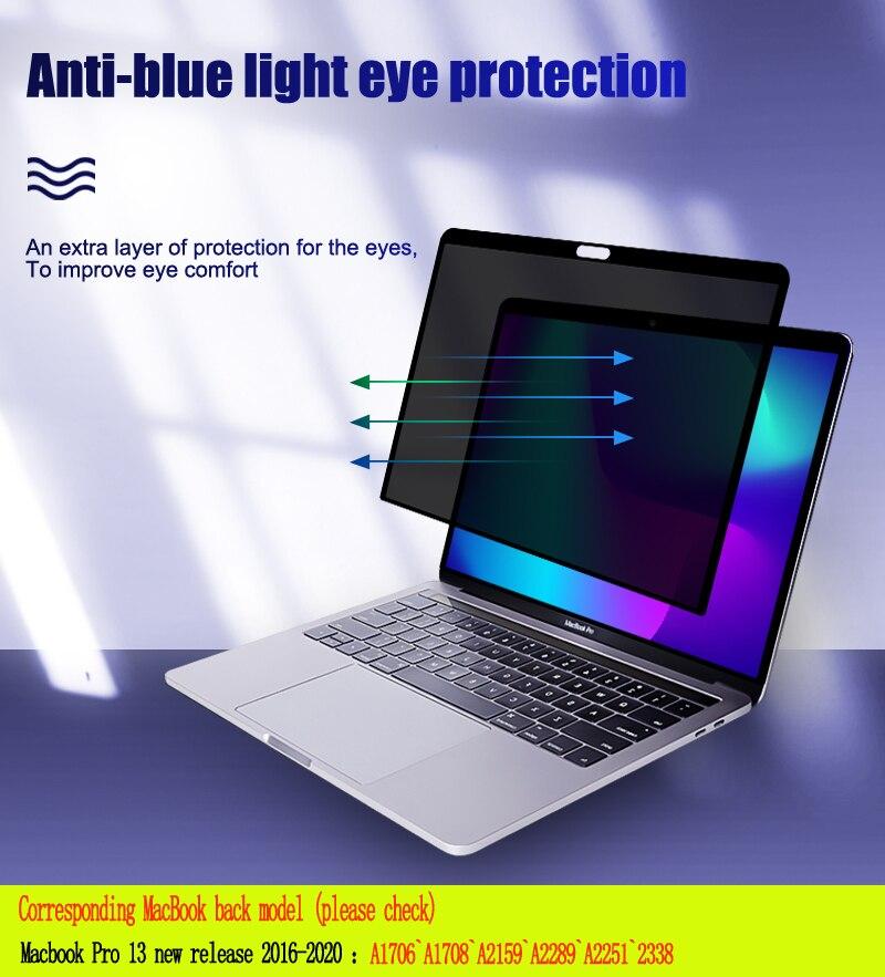 الخصوصية تصفية مكافحة التجسس PET شاشات فيلم واقية لماك بوك جديد Pro13 بوصة ل 2016 ~ 2020 M1 A1706A1708A2159 A2251A2289 A2338