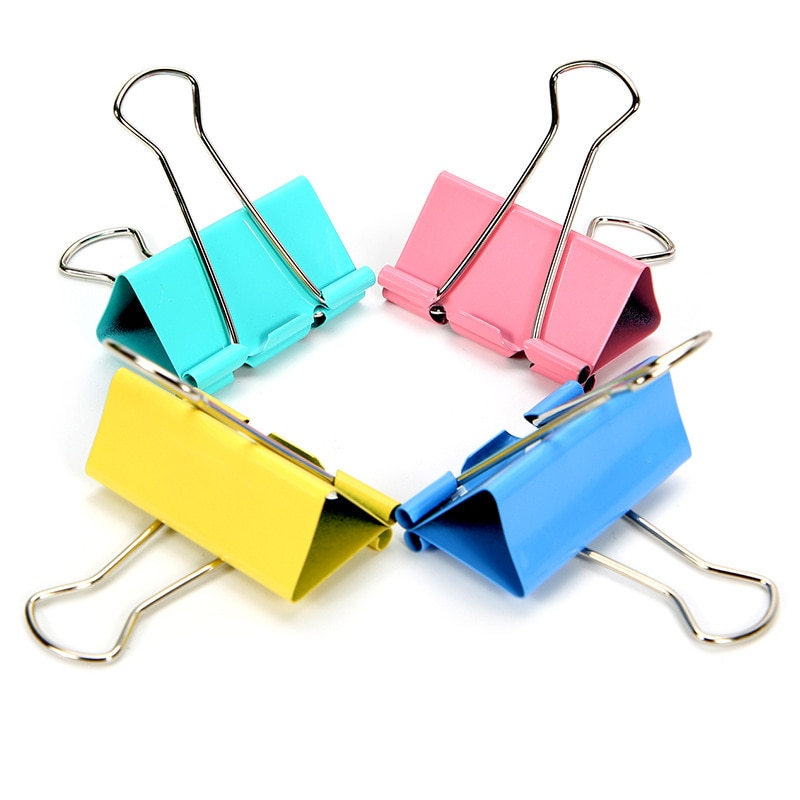 60PCS/Set 15mm Colorful Metal Binder Clips Paper Clip Office Stationery Binding Supplies
