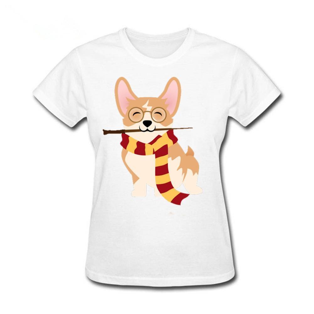 2020 nueva gran oferta Corgi Cosplayed como camiseta único de Harry Potter Gryffin Corg camiseta mujer 100% de algodón de manga corta Hipster tops