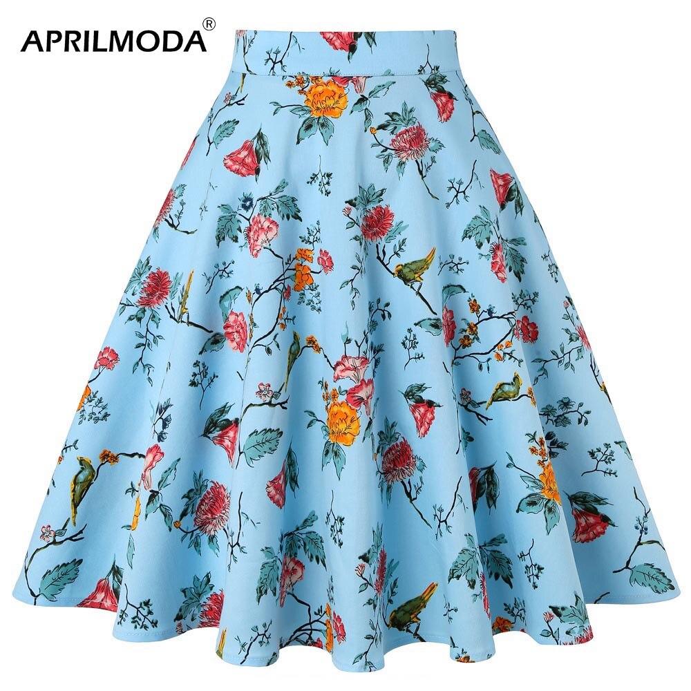 Falda Vintage de los 50s para mujer, cintura alta elástica, Skater, círculo completo, Midi, falda de otoño, ropa Floral para mujer 2019