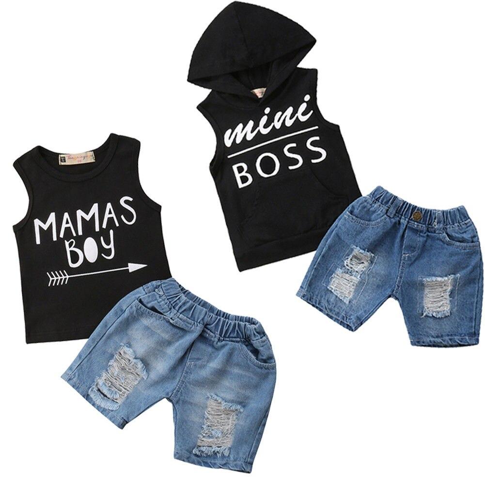 Комплект летней одежды из 2 предметов для маленьких мальчиков, футболка + штаны, 12 мес.-5 лет