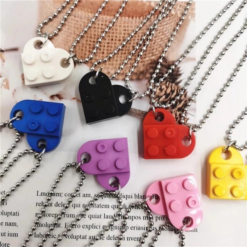 2Pcs Cute Love Heart Brick Pendant Necklace for Couples Friendship Women Men Lego Elements Couple Va