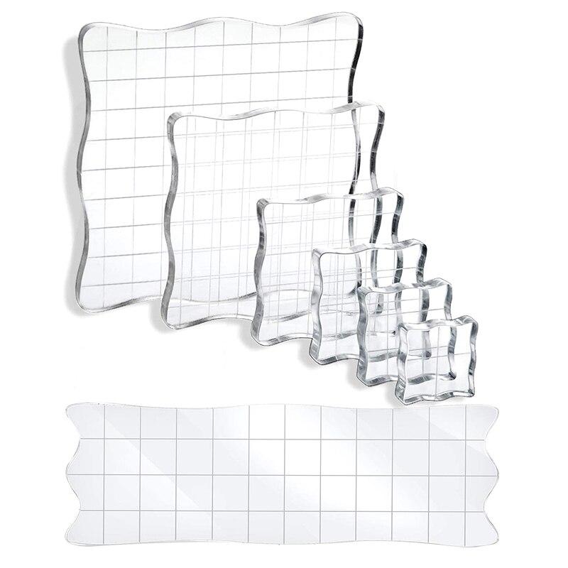 Bloques de sello de 7 Uds., herramientas de bloques de estampado acrílico con bloques de sello decorativos de rejilla para álbumes de recortes, artesanías y adornos DIY