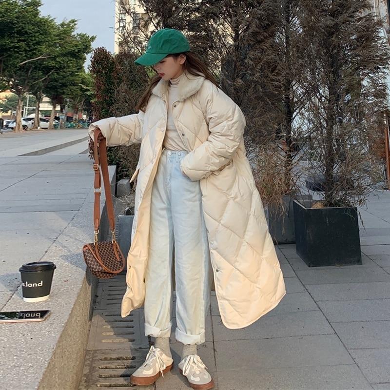 Down Parka Diamond Lattice Long Knee Down Cotton Padded Jacket Female Korean Loose Student Winter Ja