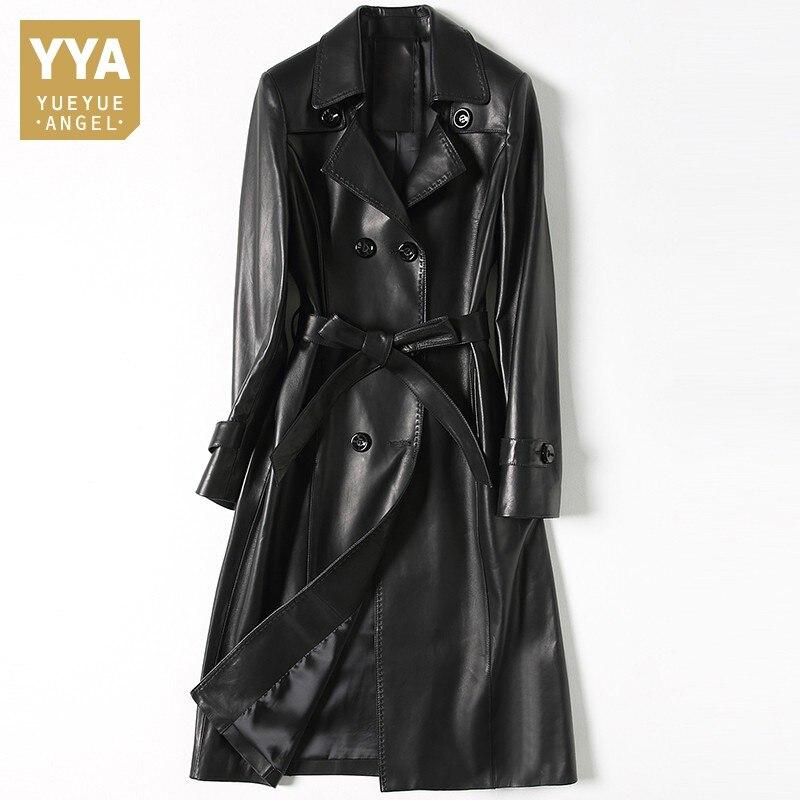 100% Genuine Leather Elegant Jacket Women Vintage Black Long Windbreaker Runway Autumn Double Breasted Slim Sheepskin Coat Woman