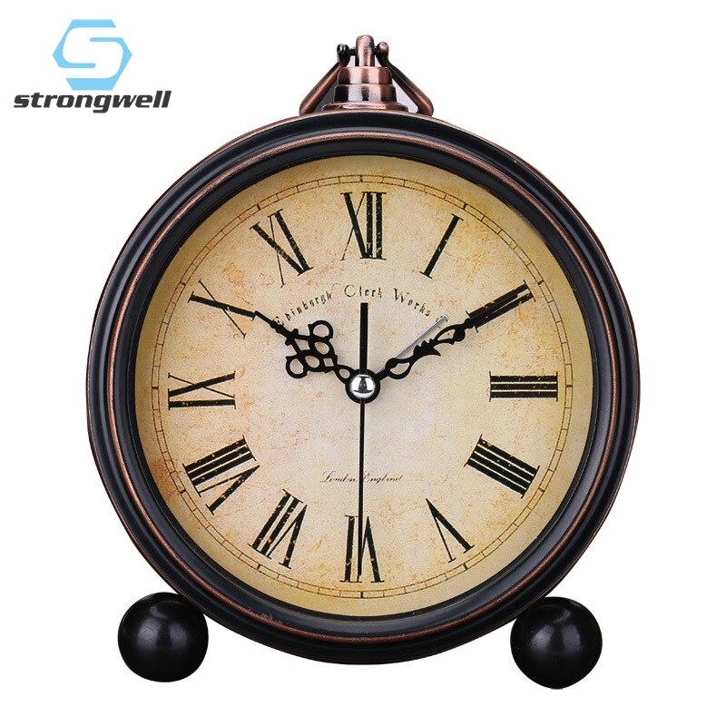 سترونغويل الأوروبي ساعة تنبيه مستديرة الرجعية الجدول الوقوف الصامت كوارتز ساعة بسيطة السرير الرقمية جرس المنزل الأطفال