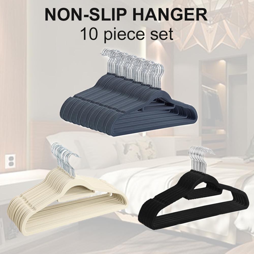 10 stücke Aufhänger Für Kleidung Beflockung Hause Lagerung Nicht-Slip Platzsparende Kleiderbügel Raum Savers Mit Organizer Trocknen racks