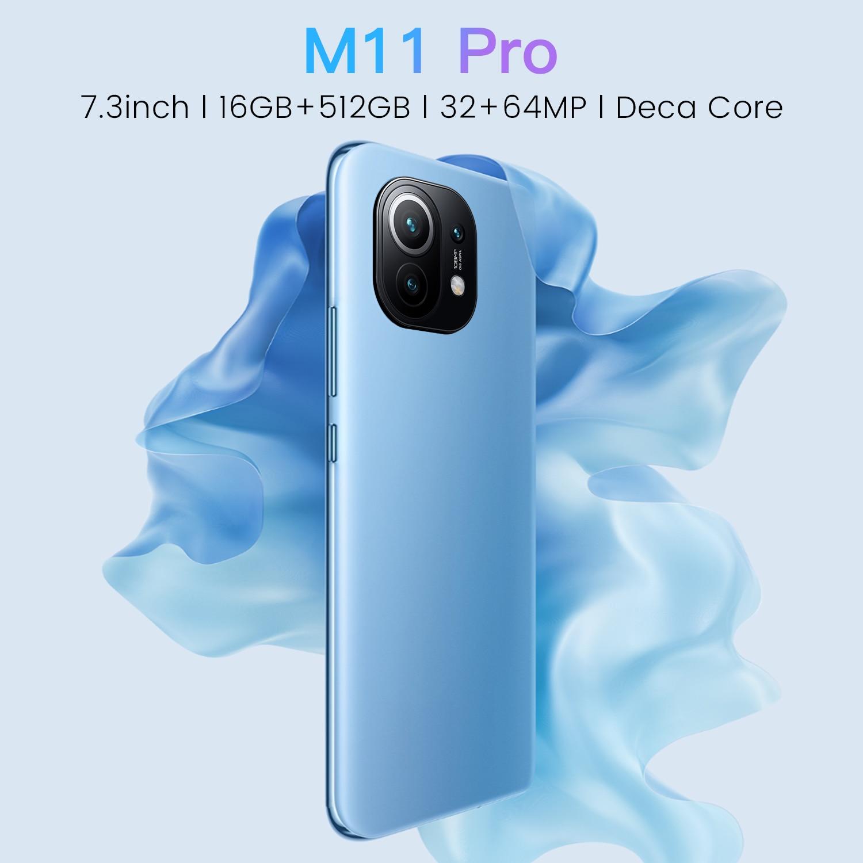 شياو M11 برو MTK6889 عشاري النواة الوجه ID النسخة العالمية 16 + 512GB Andriod 11.0 الهاتف 6800mAh بطارية كبيرة 32 + 64 ميجابكسل الهواتف الذكية 5G LTE