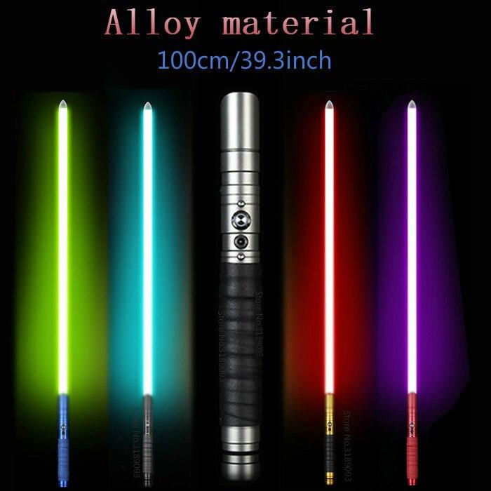 Iluminación al aire libre de sable láser Jedi Luke sable de luz fuerza duelo recargable con el cambio de Color sonido Foc manejar espadas de juguete