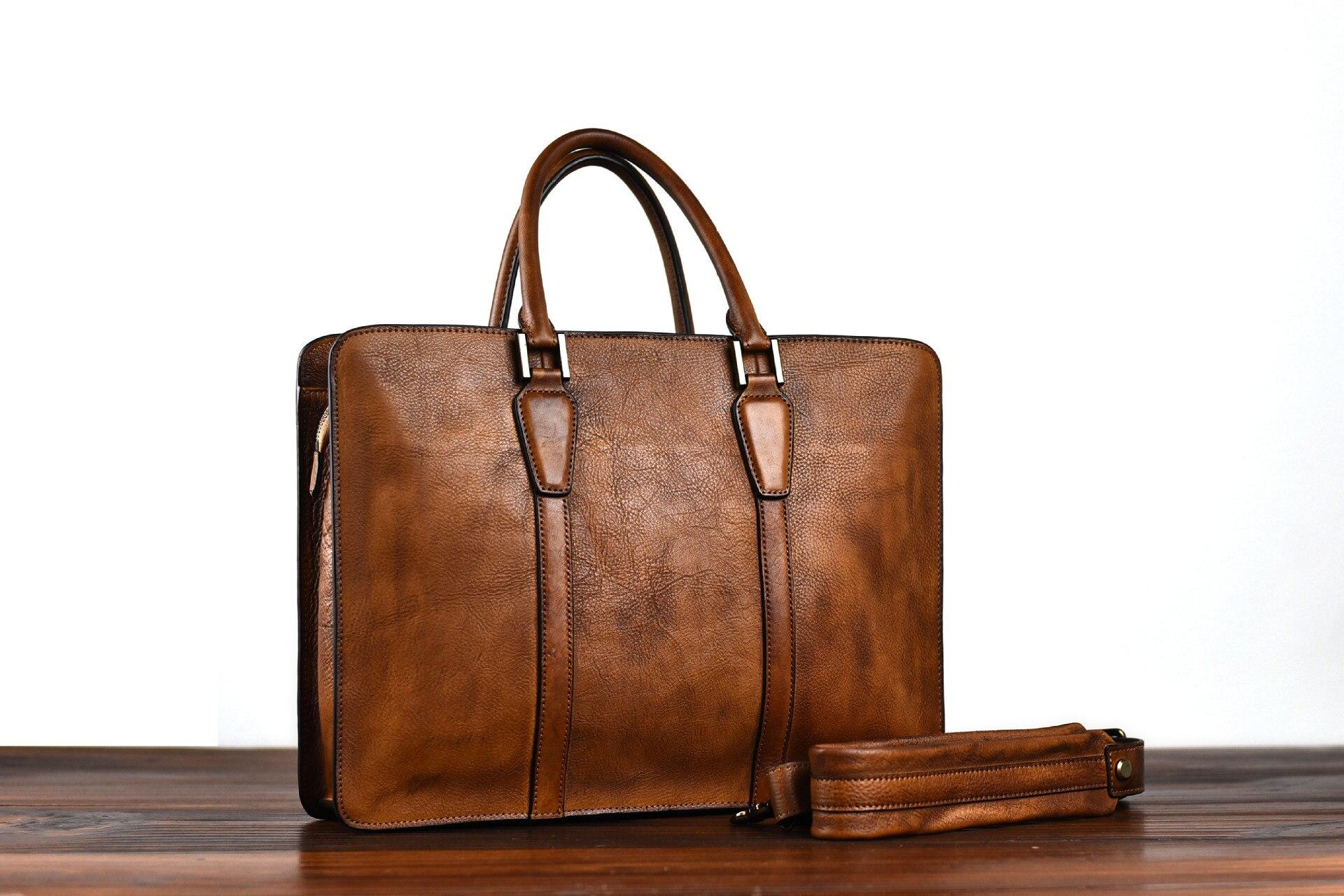 حقيبة أعمال حقيبة يد صناعة يدوية خضروات مدبوغة جلد ريترو سعة كبيرة حقيبة كتف مفردة