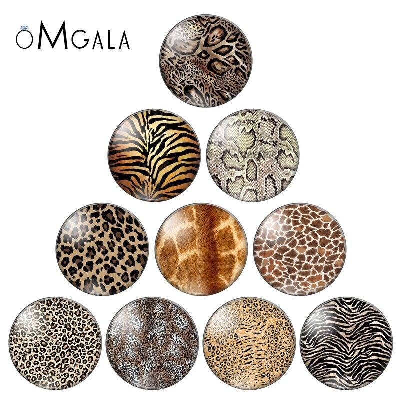 Novos padrões de impressão de leopardo da pele animal 8mm/10mm/12mm/18mm/20mm/25mm redondos foto demonstração de cabochão de vidro liso de volta fazendo descobertas