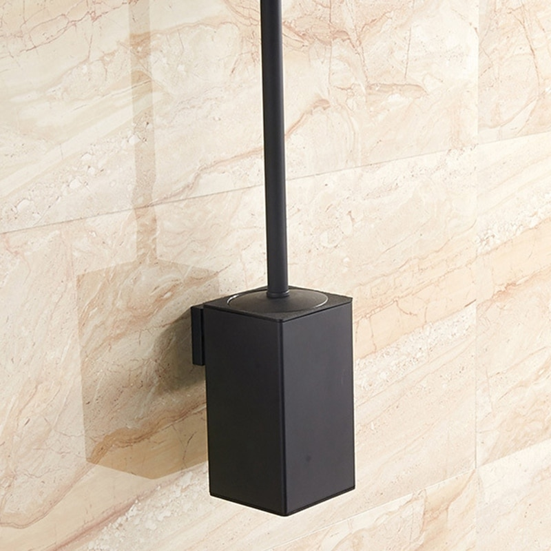 فرشاة تواليت من الفولاذ المقاوم للصدأ ، حامل حائط لفرشاة المرحاض ، أسود